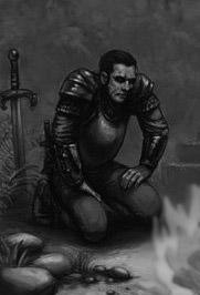 dunkler Krieger am Lagerfeuer