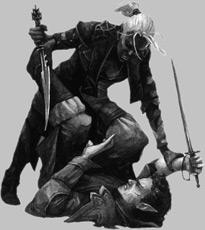 Drow mit Elfe im Kampf