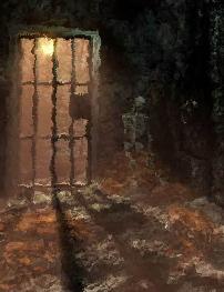 Lichtschein durch Gitter des Kerkers